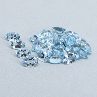 12.18 Cts. Aquamarine 6x4mm Oval Shape Gemstone Parcel (33 Pcs.)