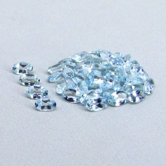 8.73 Cts. Aquamarine 5x3mm Oval Shape Gemstone Parcel (48 Pcs.)