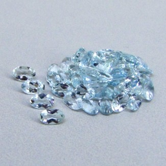 9.24 Cts. Aquamarine 5x3mm Oval Shape Gemstone Parcel (50 Pcs.)
