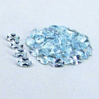 9.90 Cts. Aquamarine 5x3mm Oval Shape Gemstone Parcel (50 Pcs.)