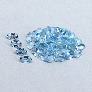 10.69 Cts. Aquamarine 5x3mm Oval Shape Gemstone Parcel (55 Pcs.)