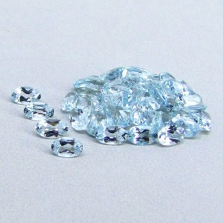 9.42 Cts. Aquamarine 5x3mm Oval Shape Gemstone Parcel (47 Pcs.)