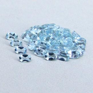 8.73 Cts. Aquamarine 5x3mm Oval Shape Gemstone Parcel (47 Pcs.)