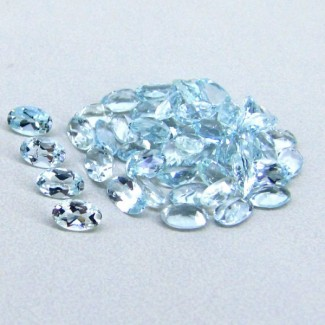 10.49 Cts. Aquamarine 5x3mm Oval Shape Gemstone Parcel (51 Pcs.)