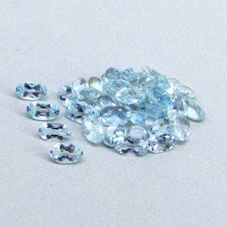 7.95 Cts. Aquamarine 5x3mm Oval Shape Gemstone Parcel (40 Pcs.)