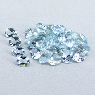 12.02 Cts. Aquamarine 5x4mm Oval Shape Gemstone Parcel (45 Pcs.)