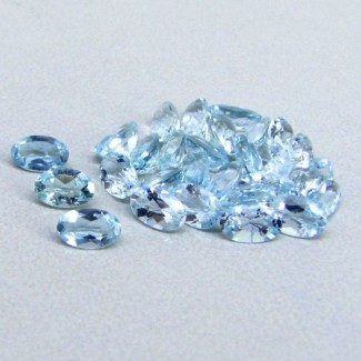 6.62 Cts. Aquamarine 5x3mm Oval Shape Gemstone Parcel (34 Pcs.)
