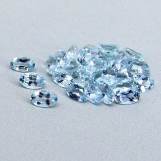 7.36 Cts. Aquamarine 5x3mm Oval Shape Gemstone Parcel (37 Pcs.)