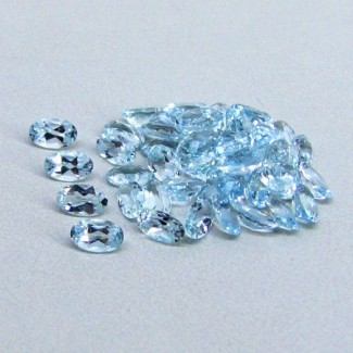 9.88 Cts. Aquamarine 5x3mm Oval Shape Gemstone Parcel (50 Pcs.)