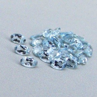 5.63 Cts. Aquamarine 5x3mm Oval Shape Gemstone Parcel (30 Pcs.)