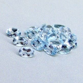 9.17 Cts. Aquamarine 6x4mm Oval Shape Gemstone Parcel (23 Pcs.)