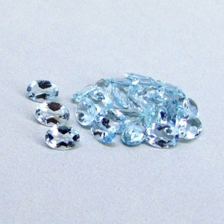 9.56 Cts. Aquamarine 6x4mm Oval Shape Gemstone Parcel (30 Pcs.)