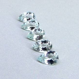 12.29 Cts. Aquamarine 12x8mm Pear Shape Gemstone Parcel (5 Pcs.)