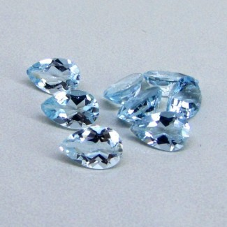 8.92 Cts. Aquamarine 9x6mm Pear Shape Gemstone Parcel (8 Pcs.)