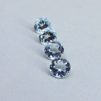 6.47 Cts. Aquamarine 8mm Round Shape Gemstone Parcel (4 Pcs.)
