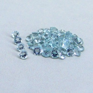 6.28 Cts. Aquamarine 3mm Round Shape Gemstone Parcel (60 Pcs.)