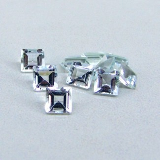 4.09 Cts. Aquamarine 4.5mm Square Shape Gemstone Parcel (10 Pcs.)
