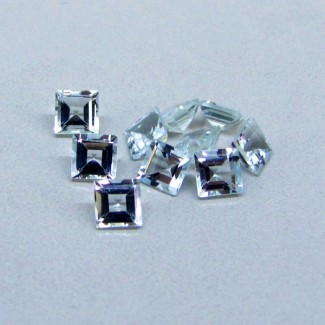 3.99 Cts. Aquamarine 4.5mm Square Shape Gemstone Parcel (10 Pcs.)