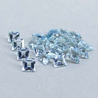 8.28 Cts. Aquamarine 4mm Square Shape Gemstone Parcel (25 Pcs.)