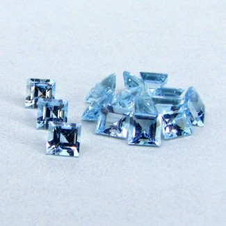 4.95 Cts. Aquamarine 4mm Square Shape Gemstone Parcel (15 Pcs.)