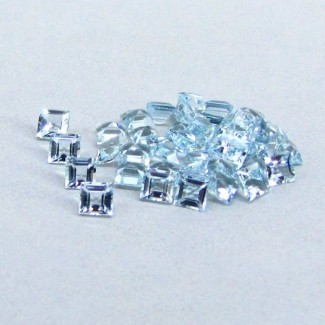 5.84 Cts. Aquamarine 3mm Square Shape Gemstone Parcel (42 Pcs.)