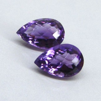 8.35 Cts. Brazilian Amethyst 12.5x8.5-13.5x9mm Pear Shape Gemstone Parcel (2 Pcs.)