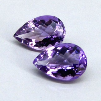 19.05 Cts. Brazilian Amethyst 17x12-18x12mm Pear Shape Gemstone Parcel (2 Pcs.)
