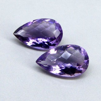 13.65 Cts. Brazilian Amethyst 17x10.5-17.5x11.5mm Pear Shape Gemstone Parcel (2 Pcs.)