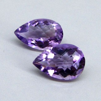 14.20 Cts. Brazilian Amethyst 16x11-16.5x11mm Pear Shape Gemstone Parcel (2 Pcs.)