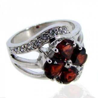 Garnet and Diamond White CZ 925 Sterling Silver Ring