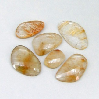 102.60 Cts. Golden Rutile 13.5x18.50-20x30mm Irregular Shape Gemstone Parcel (6 Pcs.)