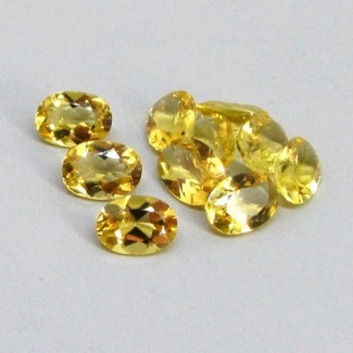 6.84 Cts. Yellow Beryl 7x5mm Oval Shape Gemstone Parcel (10 Pcs.)
