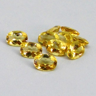 6.65 Cts. Yellow Beryl 7x5mm Oval Shape Gemstone Parcel (10 Pcs.)