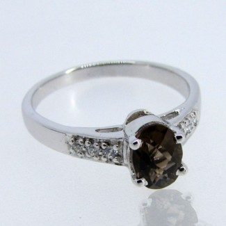 Smoky Quartz and Diamond White CZ 925 Sterling Silver Ring