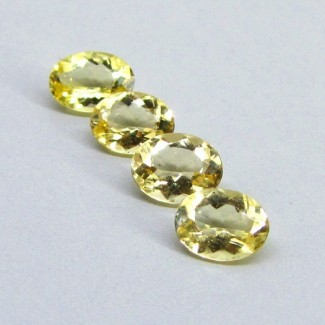 6.46 Cts. Yellow Beryl 9x7mm Oval Shape Gemstone Parcel (4 Pcs.)