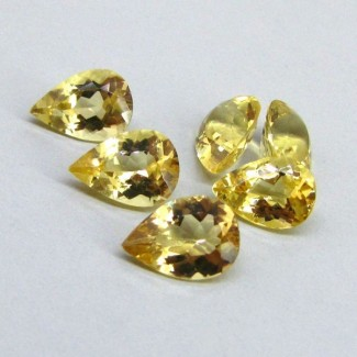 9.66 Cts. Yellow Beryl 10x7mm Pear Shape Gemstone Parcel (6 Pcs.)