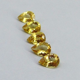 12.55 Cts. Yellow Beryl 12x8mm Pear Shape Gemstone Parcel (5 Pcs.)