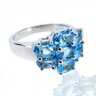 Swiss-Blue Topaz 925 Sterling Silver Ring