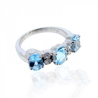 Swiss-Blue Topaz and Diamond White CZ 925 Sterling Silver Ring