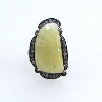 Yellow Sapphire and Diamond White CZ 925 Sterling Silver Ring