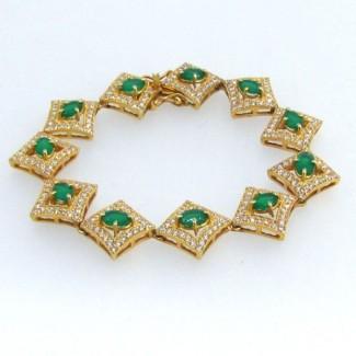Green Onyx and Diamond White CZ 925 Sterling Silver Bracelet