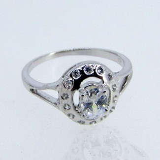 Aquamarine and Diamond White CZ 925 Sterling Silver Ring