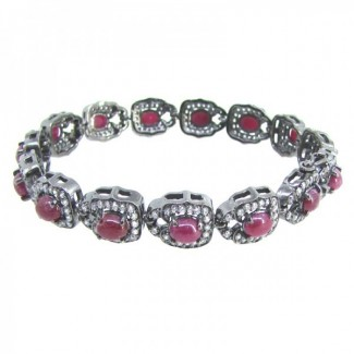 Ruby and Diamond White CZ 925 Sterling Silver Bracelet