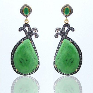 Green Onyx and Diamond White CZ 925 Sterling Silver Earrings