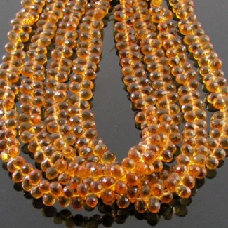 Citrine 4-5mm Drops Shape Briolette Strand