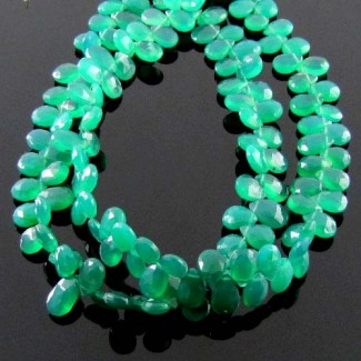 Green Onyx 6-7mm Pear Shape Briolette Strand