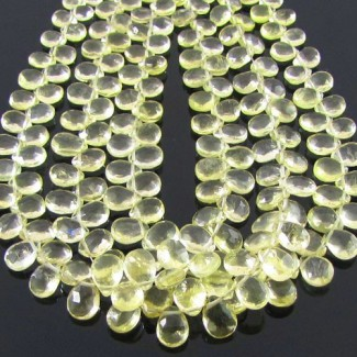 Lemon Quartz 6-7mm Pear Shape Briolette Strand