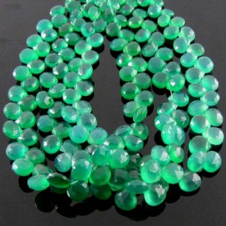 Green Onyx 6-7mm Heart Shape Briolette Strand