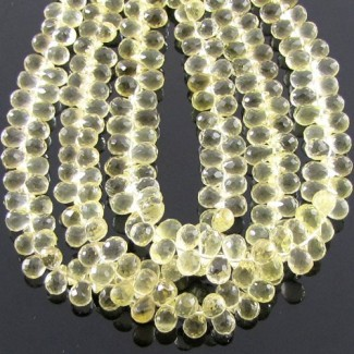 Lemon Quartz 6-7mm Drops Shape Briolette Strand