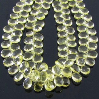 Lemon Quartz 8-9mm Pear Shape Briolette Strand